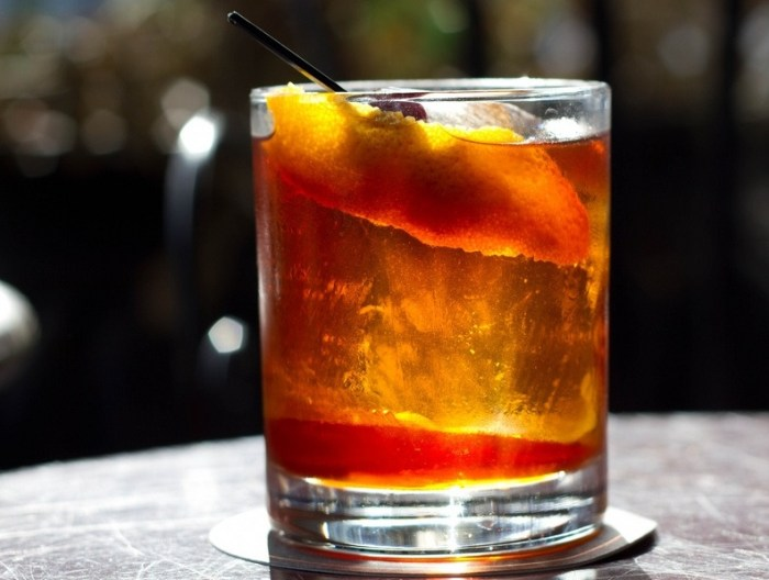 Old fashioned, trago con whiskey