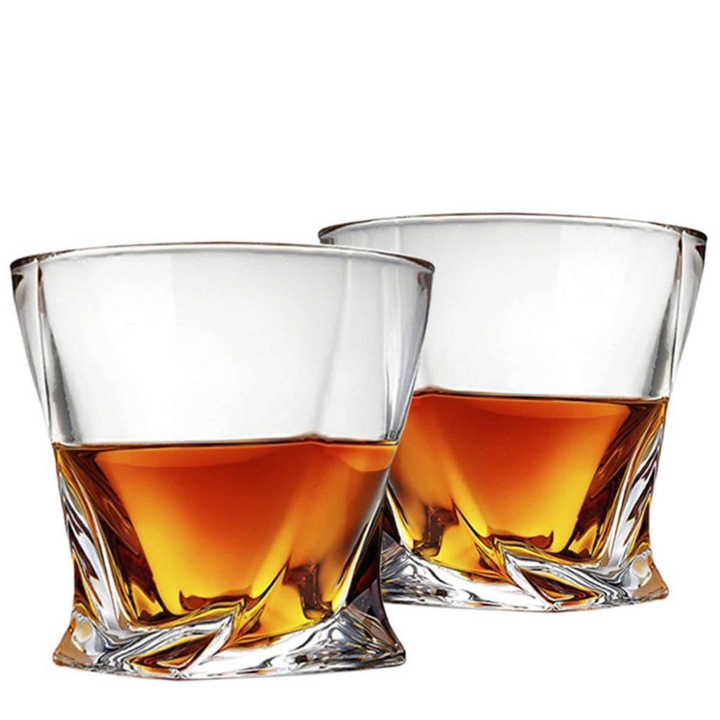 Vasos de whisky de la vendimia M/&W Vasos para beber de alta calidad Set de 4 vasos de whisky Set de regalo de cristal
